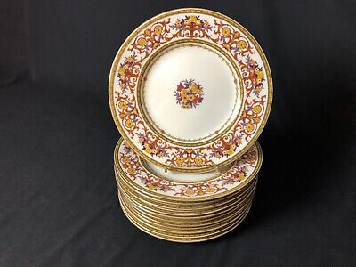 """Antique Set of12 Minton10&1/2"""" Dinner Plates (4 plates have 1927 Swastika Cypher"""