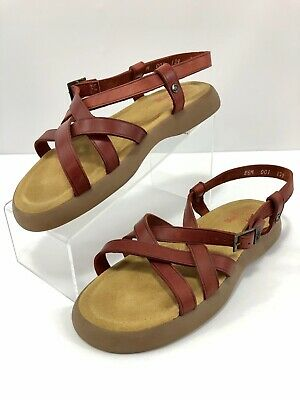 8f7f705831 G H Bass Sunjuns Size 8 1/2 Margie Brown Leather Strappy Slingback Sandals