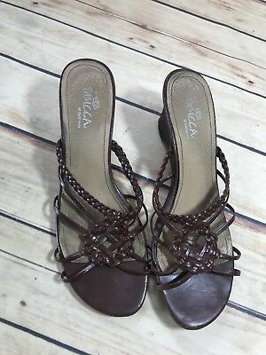 3280786f3 SBICCA Womens Size 9 Brown Strappy Wedge Heel Sandals Summer Casual Comfort  Wear