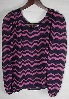 Xhilaration Womens XXL Pink & Navy Blue Zig Zag Blouse Button Down Top