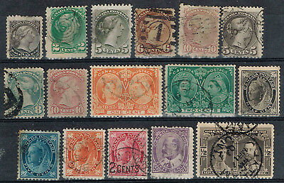 Canada Early Selection 1870 - 1908. Used Avg-VF. some faults dmg thins SCV=$450+