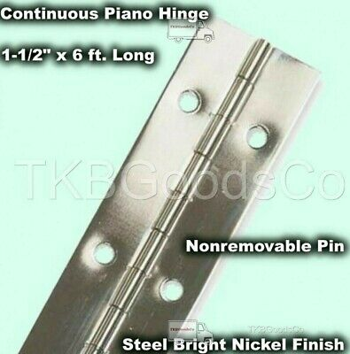 """1-1//2/"""" x 72/"""" PIANO HINGE Unfinished Aluminum Full Surface Non-removable Pin"""