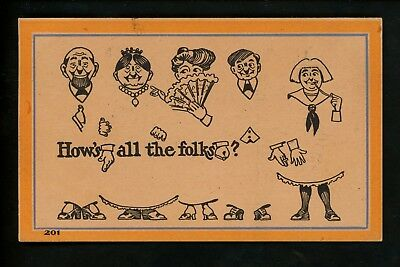 Silhouette postcard family folks comic #201 Vintage