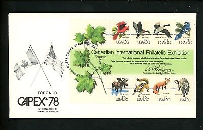 US FDC #1757 Unknown 1978 Toronto ON Canada CAPEX 78 Animals
