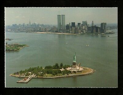 New York City NY postcard Statue of Liberty Island 1985 Twin Towers harbor view