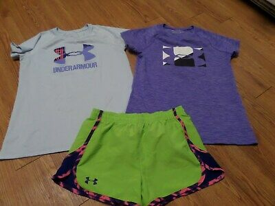 UNDER ARMOUR 3 Pc SET LOT GIRLS SPORT SHORTS  ATHLETIC TOPS LOOSE YLG