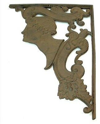 Large CAST IRON Replica C'sar Roman  Head  Shelf  Brace Brackets  Mounted
