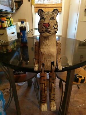 Awesome Antique Hand Carved Hand Painted Jointed Shelf Tiger Glass Eyes