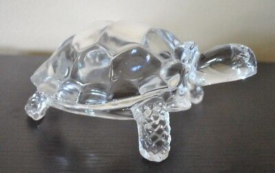 "TURTLE Art Glass Crystal Sculpture Paperweight  VTG 7"" RARE"