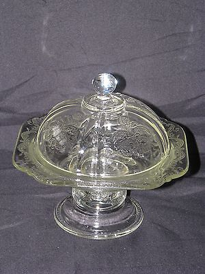 Indiana Glass Company Madrid Recollection Clear Pedestal Covered Candy Dish