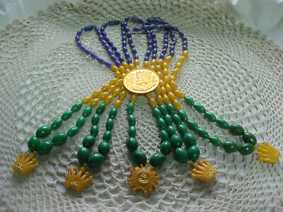 #C-Vintage New Orleans-Mardi Gras beads from a REX  Parade & doubloon