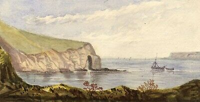 Coastal Cliff & Sea Arch - Original mid-19th-century watercolour painting