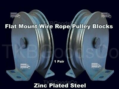 Flat Mount Wire Rope Pulley Blocks (1 pair) Zinc Steel Plated 525 Lb Load Cap