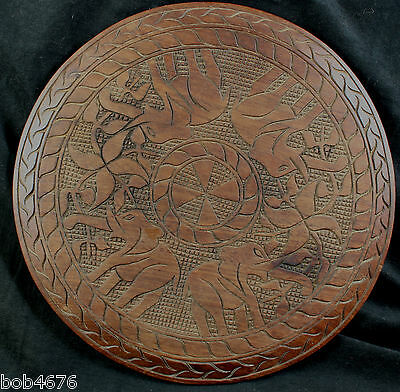 """Vintage Hand Carved Hardwood 18"""" Table Top w Elephants Angola Africa LOOK"""