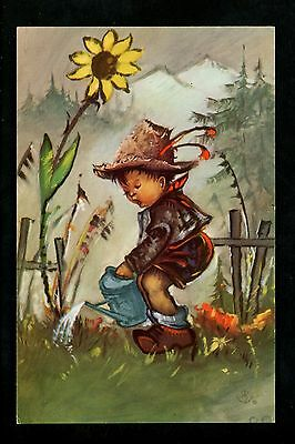 Sunflowers postcard Child Watering Can Garden Little Folks 674 Alfred Mainzer