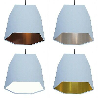 Hexagon Lampshade Light Pale Blue Geometric Metallic Lined Copper Silver Gold