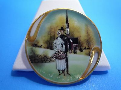 "Anna Perenna Folk Art ""Country Wedding"" Pendant/Brooch #13952 P. Buckley Moss"