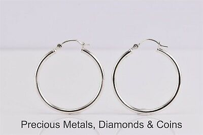 28mm 2mm tube 925 sterling silver round Eurowire hoop loop earring wire E25s