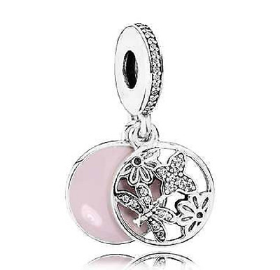 Authentic Pandora Charm Sterling Silver Dangle Soft Pink Springtime 791843EN40