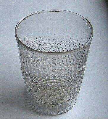 Early Clear Blown Glass  FLIP GLASS  -  geometric bands + pontil  5 5/8in  c1835