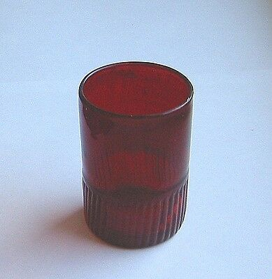 Early Dark Red Glass  WHISKEY / BAR GLASS -  QGC ribbed +blown  c1840's?  3.25in