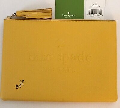 c4707fe2a NWT Kate Spade Gia Large Pouch Leather Logo Embossed Clutch Bag Daffodil