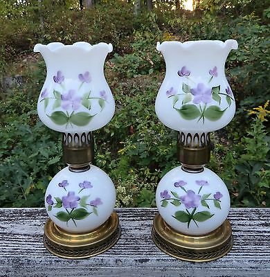 Vntg 60s Pair Milk Glass Table Lamp Lamps Night Light Violets In The Snow RARE!