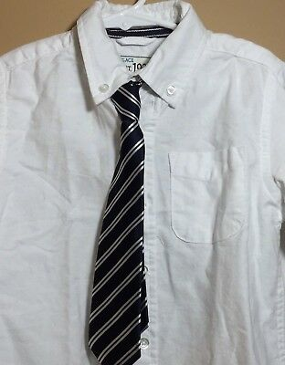New The Children's Place Boys White Button-down LS Dress Shirt 4T w/Tie