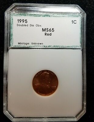 1995-DDO Lincoln Cent Red Double Die Obverse Error ☆ nice MS RD ☆ FREE SHIPPING