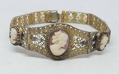 Antique Victorian Gold Plated 800 Silver Cameo Wire Bracelet
