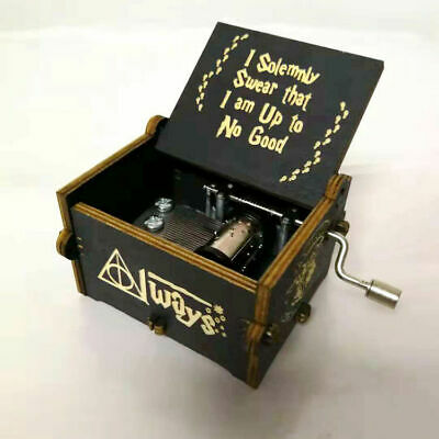 Harry Potter Music Box Hand-Cranked Toys Xmas Gifts Engraved Wooden Music Box