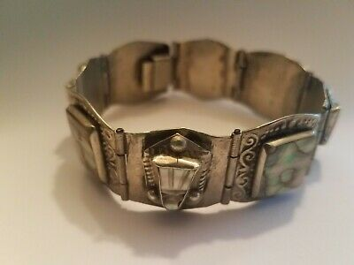 Vintage Mexican Aztec Mask Bracelet in Abalone Shell and Alpaca Silver