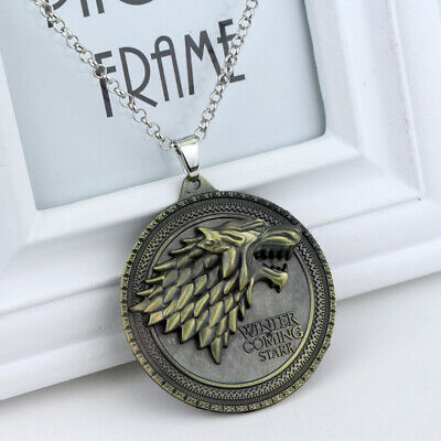 Game of Thrones Jewellery House Stark Direwolf Pendant Necklace Silver Bronze
