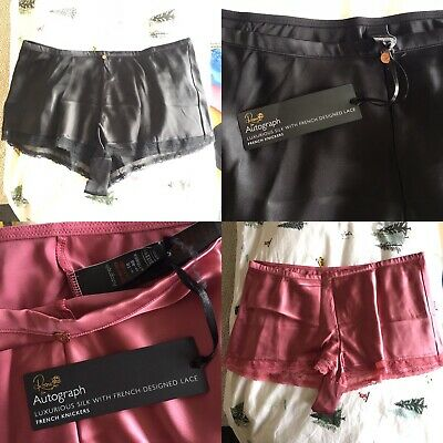 322b37fa2dd M S Rosie Autograph 18 Luxurious silk french knickers black And Rose Pink