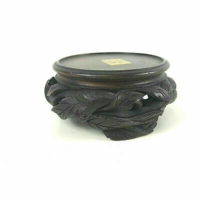 Antique Chinese Carved Wooden Stand For Bowl Vase #126 Leaf carving