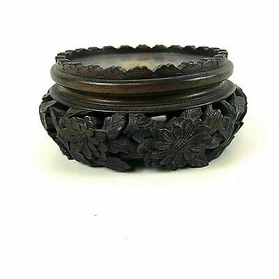 Antique Chinese Carved Wooden Stand For Bowl Vase #125 Flower Carving
