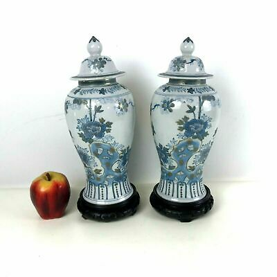 Pair of Vintage Chinese Porcelain Jars Hand Painted on Carved Stand