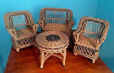 ANTIQUE WICKER RATTAN 4 piece DOLL Bear FURNITURE SET Original natural & green