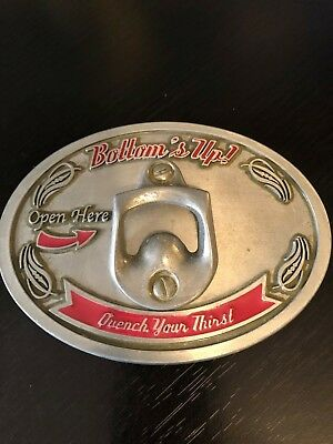 Bottom's Up! Belt Buckle Quench Your Thirst Open Here Bottle Opener Attached