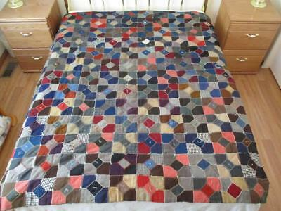 Vintage 1913 heavy wool bowtie quilt, fancy embroidery, tied, cheater cloth back