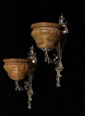 art deco wall  lights  silvered bronce with real amber  alabaster shades