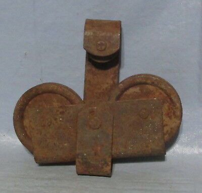 Antique Vtg Iron Barn Door Roller Hardware Wheels Roll Free Rusty Rustic Farm