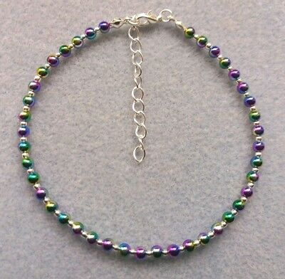 "Rainbow Bead Ankle Bracelet Anklet 9"" With Extender Chain Sparkly, like stardust"