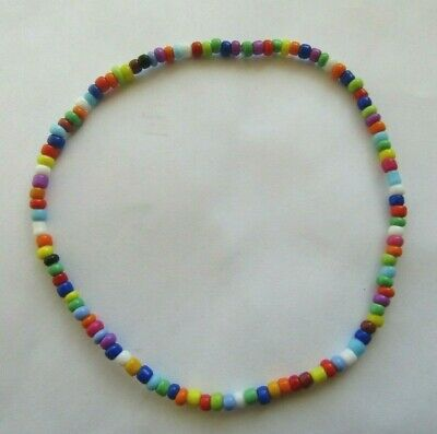 """Multi Coloured Opaque Seed Bead Stretchy Anklet 9.5"""" Rainbow Ankle Bracelet"""