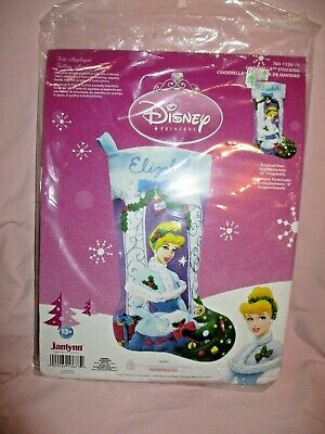 "Janlynn Disney Princess Cinderella Christmas Stocking Kit Felt Applique 18"" 2007"