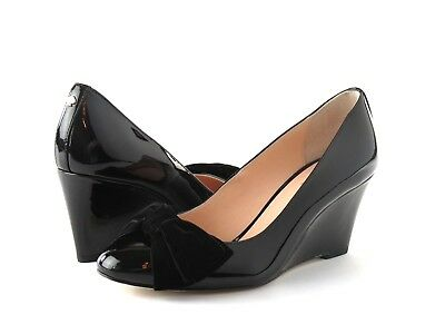 9e2950e89131 Kate Spade New York Weller Black Patent Leather Wedge Heel Suede Bow Pump  8.5