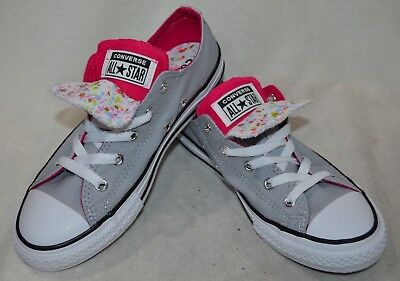 92a5c6e0d1d3 Converse Chuck Taylor Double Tongue Grey Pink Pop Wh Girl s Sneakers-Sz 2