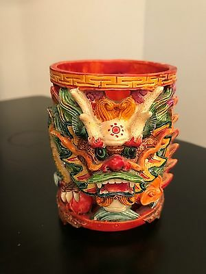 DRAGON Multi Colored 3-D Candle Holder