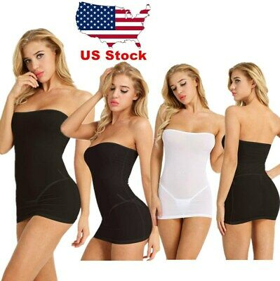 d4aaafe6d2 One Piece Women Strapless Long Tube Top Dress Tights Bodycon Micro Mini  Dress US