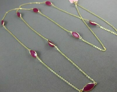 Estate Long 20.83Ct Rubies 14Kt Yellow Gold 3D Marquise Shape Tin Top Necklace